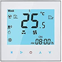 WiFi Termostato programmable Pantalla táctil LCD Temp Aire Acondicionado Control de calentamiento de temperatura 16A 230V Remoto de 7 días Iluminar desde el fondo blanco