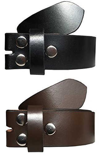 VALERIO Mens Womens Unisex Multipack Black & Brown (Set of 2 Belts) Twin Pack Full Genuine Leather Casual Formal Press Stud Leather & Chrome Finish Snap On Belts