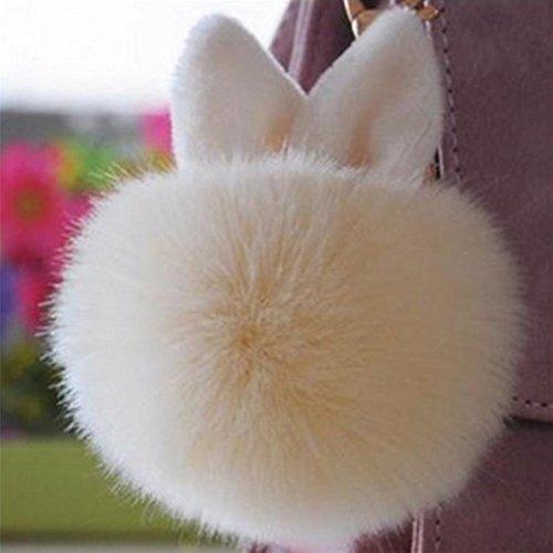 Fami Donne Pelliccia del coniglio sfera Portachiavi Bag Plush Car Key pendente dell'anello chiave auto BG