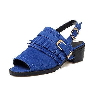 LvYuan Sandali-Casual Sportivo-Comoda-Quadrato-Felpato-Nero Blu Giallo Blue