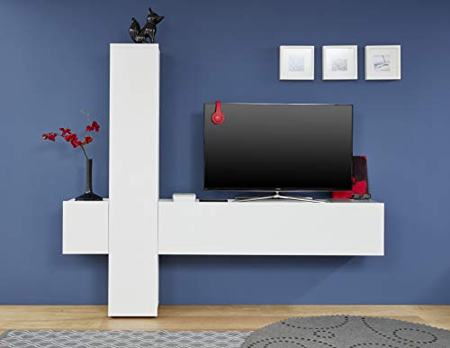 trendteam smart living Wohnzimmer Anbauwand Wohnwand Wohnzimmerschrank Cross, 223 x 191 x 34 cm Front Weiß Hochglanz, Korpus Weiß mit viel Stauraum und Ablagefläche