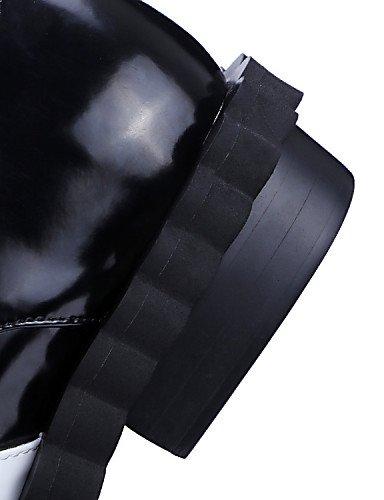 ZQ hug Scarpe Donna-Scarpe col tacco / Stivali-Tempo libero / Ufficio e lavoro-Punta arrotondata / Stivali-Quadrato-Di pelle / Vernice / Pelle- , black-us8 / eu39 / uk6 / cn39 , black-us8 / eu39 / uk6 black-us8 / eu39 / uk6 / cn39