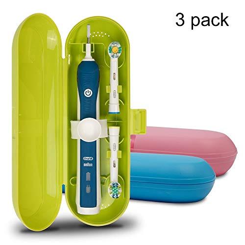 Étui de voyage en plastique pour brosse à dents électrique Oral-B Pro Series, 3 packs (bleu/rose/vert)