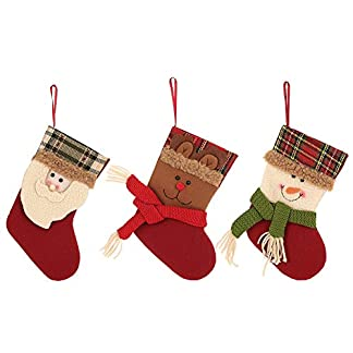 fanshiontide – 3 Bolsas para calcetín navideño para Colgar en la Bolsa