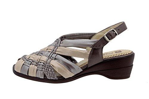 Chaussure femme confort en cuir Piesanto 2562 sandale comfortables amples Humo-Plata