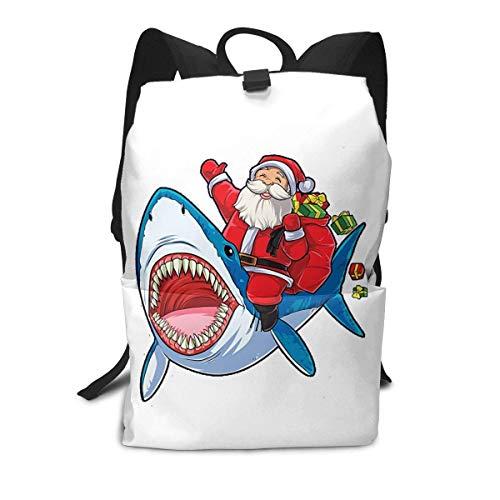 Homebe Weihnachtssack mit Hai-Motiv, Buchtasche, Reisetasche, Rucksack, Schule, Reisen, Wandern, klein, für Teenager, kleine Mädchen, Jugendliche, Kinder, Frauen, Männer, Bedruckt, Gemustert
