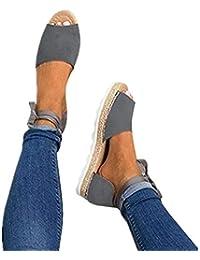 5f2a1da0d3db9 Sandales Femme Plateforme Été Plate Cuir Bout Ouvert Chic Plage Bohême  Espadrilles Gladiateur Legere Dames Chaussure