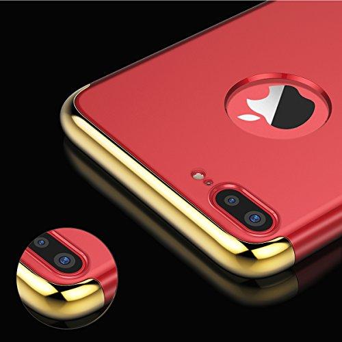 VemMore Coque iPhone 8 Plus Rigide 3 en 1 Dur Hard [ Ultra Fine ] Luxe Mat Dure de Protection Plastique Slim Mince Plastic Hybride Antichoc Case Bumper Housse Cas pour iPhone 8 Plus --- ( Rose Gold ) Rouge