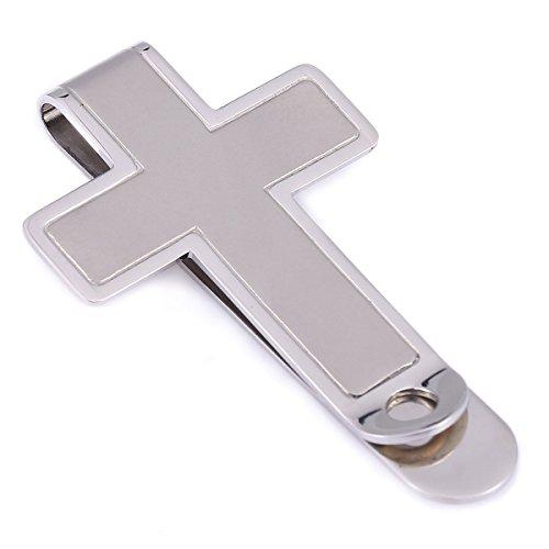 Trendsmax Uomini d'argento di tono semplice clip croce in acciaio inox denaro Titolare contanti Slim calda