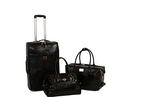 Kofferset 3 teilig- Koffer - Croco-Design - PURE - Set APURE Koffer / Trolley klein / Handgepäck / Cabin Trolley / Reisegepäck / Weichgepäck / Reisekoffer /...