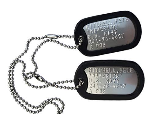 Graphotype™ Militärischen Erkennungsmarken TOP GUN PETE MITCHELL MAVERICK Erkennungsmarken im Armeestil mit Kugelkette & Schalldämpfern