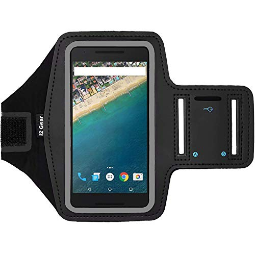 i2 Gear Fitness-Armband zum Laufen - Workout-Telefonhalterung mit verstellbarem Riemen, reflektierende Kanten - Armband für LG Nexus 5X (schwarz) (Nexus 5 Case Otterbox)