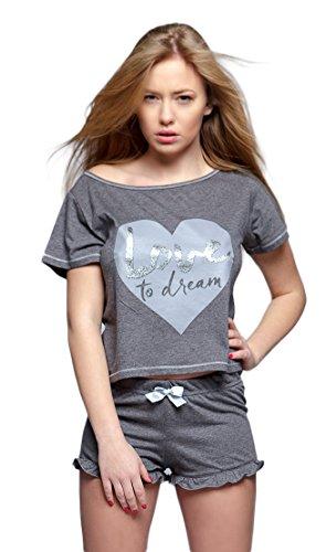 SENSIS wunderschönes Nachtwäsche-Set aus stylischem Baumwoll-Hemdchen und koketten Shorts (L (40), Kurzarm grau) (Capri-baumwoll-pyjama Set)