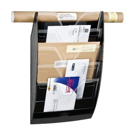 CEP 1001540011 Wandprospekthalter 5 Fächer 154, schwarz/glasklar