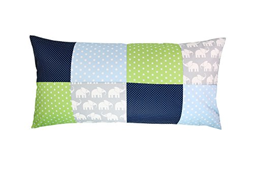 ULLENBOOM ® Patchwork Kissenbezug Elefant Blau Grün (40x80 cm Kissenhülle, Baumwolle, ideal als Kinderzimmer Dekokissen, Motiv: Elefanten, Sterne)