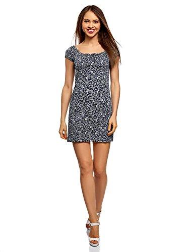 oodji Ultra Damen Baumwoll-Kleid mit Raffungen auf der Brust, Blau, DE 42 / EU 44 / XL -