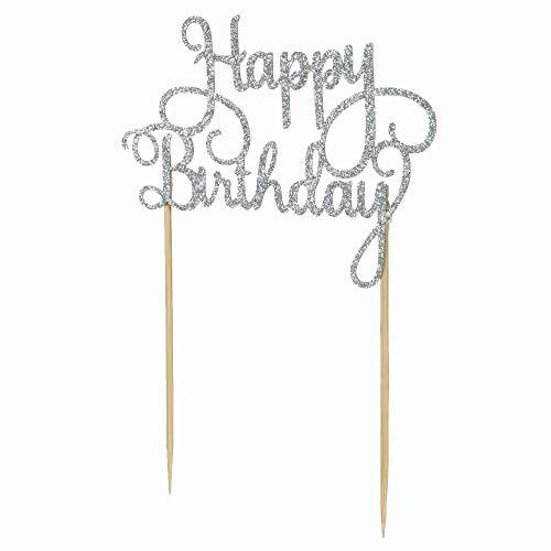 Decdeal Kuchen Topper Set, 15 Stück Glitzerpapier Happy Birthday Tortendeko Cupcake Dessert Dekoration Zubehör (10 x 7.5cm)