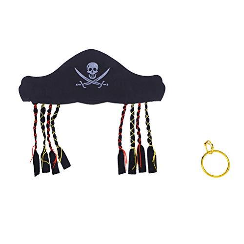 iraten Kostüme Cosplay Kostüm Party Requisiten (1 Stück Piraten Hut + 1 Stück Ohrring) , 2St ()