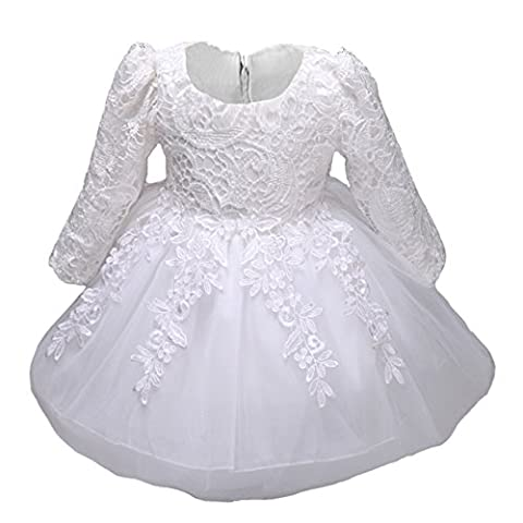 Myosotis510 Girls' Christening Gown Lace Princess Wedding Dress Long Sleeve Formal Party Wear for Toddler Baby Girl (4 Years,