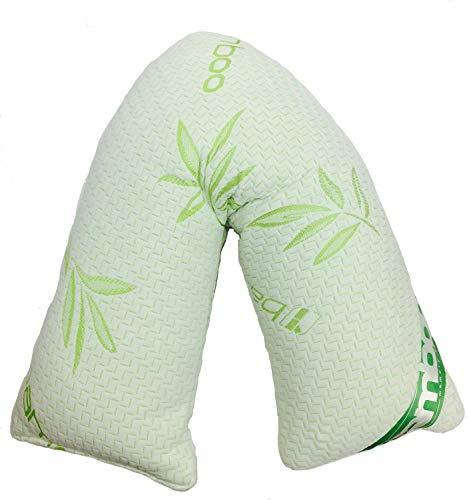 Harris di lusso bambù a forma di v per cuscino con copertura di bambù traspirante–memory foam cuscino a v ideale per supporto ortopedico, allattamento, maternità e gravidanza