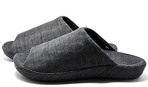 Unisexe à enfiler Chaussons Happy Lily antidérapant Bout ouvert Sandale 3d Structure Mules Robe Tissu de coton Chaussures d'intérieur pour adulte, noir