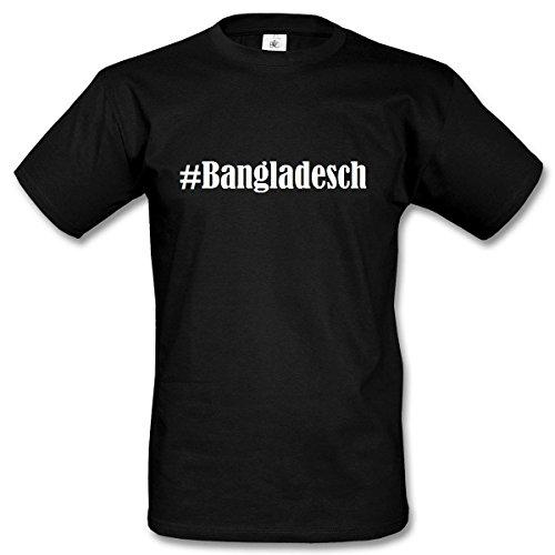T-Shirt #Bangladesch Hashtag Raute für Damen Herren und Kinder ... in den Farben Schwarz und Weiss Schwarz