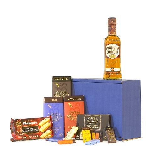 The Southern Comfort & Chocolate Survival Kit Gift Hamper - Includes 350ml Southern Comfort Whisky - Gift ideas for Christmas hampers, Birthday, Dad, him