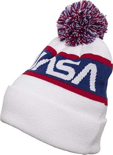 Mister Tee NASA Beanie Knitted Wintermütze, wht/Blue/Red, one Size