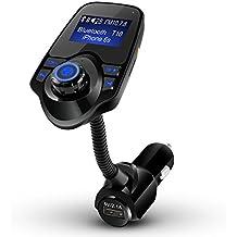 Transmisor FM Bluetooth, DIKI Inalámbrico Transmisor USB Coche Cargador con Reproductor de MP3 Bluetooth con Puerto de 3,5 mm de Entrada/Salida de audio para Llamadas Manos Libres Ranura para Tarjeta del TFSoporta USB / tarjetas SD/Cable AUX 3,5mm para Smartphon iPhone Tablet iPad etc. Compatibilidad Universal (Negro)