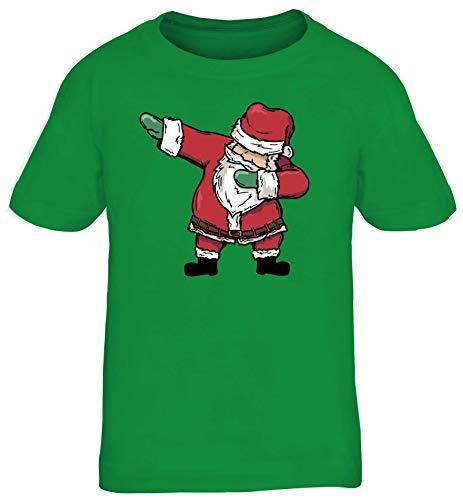 Dab Floss Emote Gamer Weihnachts Kinder T-Shirt Rundhals Mädchen Jungen Dabbing Santa Claus, Größe: 134/146,Kelly Green