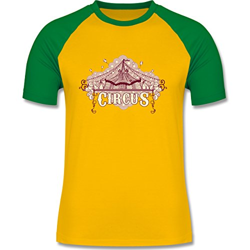 Statement Shirts - Circus - zweifarbiges Baseballshirt für Männer Gelb/Grün