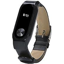 Malloom Reemplazo de cuero pulsera correa para Xiaomi Mi Band 2 Smartband (negro)