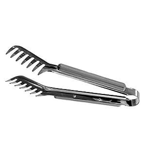 HornTide in acciaio inox Pasta Pinze confezione da 2 pezzi dentato Ends Design for spaghetti tagliatella Pastry cucina che serve tenaglie da 9 inch