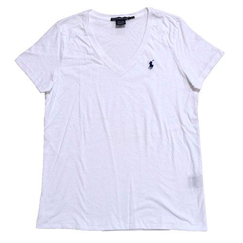Ralph Lauren Sport Leichtes Damen T-Shirt mit V-Ausschnitt (Medium, Weiß)