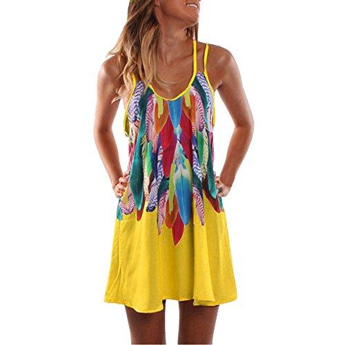 (VEMOW Heißer Verkauf Elegante Damen Frauen Sommer Boho Casual Gedruckt Maxi Party Cocktail Strand O-Ausschnitt Spaghetti Strap Kleid Sommerkleid(Gelb, EU-42/CN-L))
