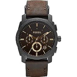 FOSSIL Machine / Montre chronographe homme en cuir brun - Grand cadran en acier inoxydable noir - Boîte de rangement et pile incluses