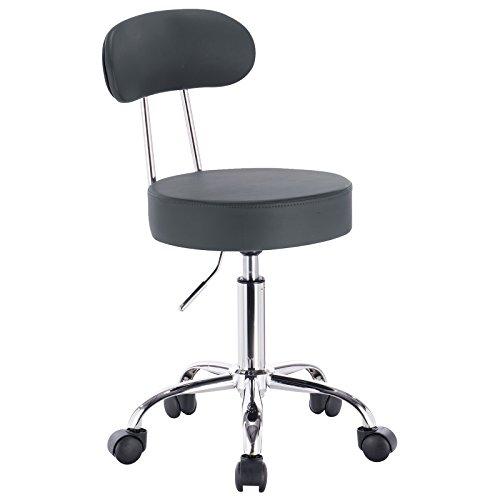 Woltu bh34gr-1 sedia ufficio scrivania sgabelli con schienale imbottito similpelle cromato regolabile girevole moderni grigio set 1