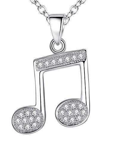 Aoiy - Collar con colgante de las mujeres en plata de ley, nota musical con Circonita, cadena de 45cm, zdp008bi
