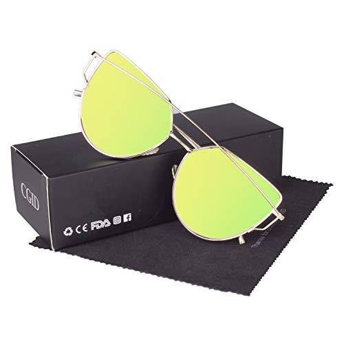 CGID Mode Polarisierte Katzenaugen Sonnenbrille For Damen UV400 reflektierenden Spiegel, B4 Gold Gold,