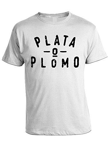Tshirt Plata o Plomo - Pablo Escobar - in cotone Bianco