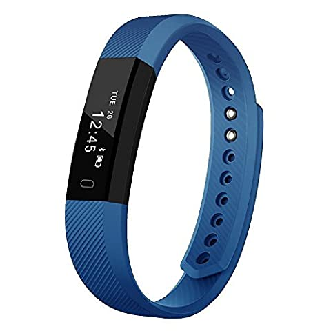 Delvfire tracker de fitness montre avec moniteur de sommeil, suivi d'activité, podomètre Bracelet, compteur de calories, sommeil, Smart Sports Bracelet Compatible avec iPhone Android pour femmes, femmes, hommes et enfants, Ignite, bleu