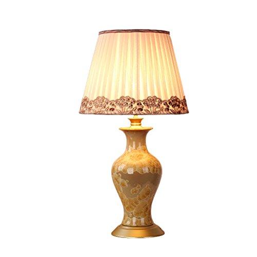 BJ Schreibtischlampen- Tischlampe American Retro Brown Keramik Falten Tuch Schatten Design Beleuchtung Verdunkeln Warm E27 LED Schreibtisch Licht (Farbe : Dimming switch)