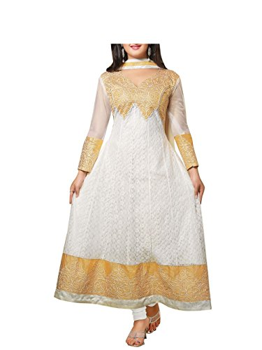 Vibes Women Georgette Salwar Suit Dress Material (V196-45004 _White _Free Size)