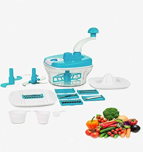 Kitch-Max All in 1 Plastic Manual Food Processor Chopper, Grater, Slicer, Chipser, Blender, Atta Maker, Dough Kneader (Multicolour, 14 Pieces)