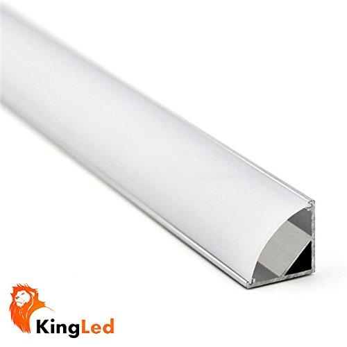 Perfil de aluminio 1616 angular 1m para tiras Led con tapa blanca