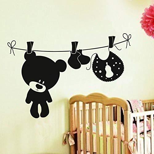 stickers muraux salon arbre stickers muraux phrases pas cher Teddy à suspendre avec le linge pour la décoration de la salle de lavag