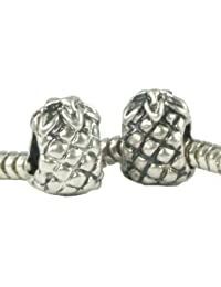 Stone River Sterling Silver Plated Pineapple Charm Bead (Fits Pandora, Chamilia, Biagi, Troll Standard Size Bracelet)