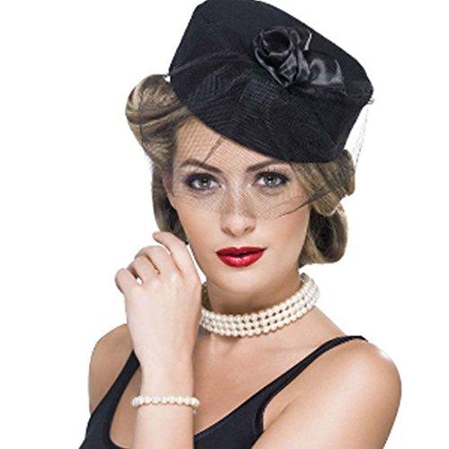 NET TOYS Rokoko Perlenschmuck Set Perlen Halskette und Armband weiß Hollywood Schmuckset Elegante...