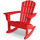CASA BRUNO South Beach II Adirondack Mecedora, HDPE Poly-madera, rojo - resistente a la intemperie