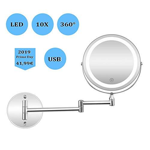 MRJ Schminkspiegel beleuchtet wandmontage, Kosmetikspiegel mit LED Beleuchtung und 10xFach- Vergrößerungsspiegel, USB Wiederaufladbare Touchscreen Dimmbarer Make-Up-Spiegel - Beleuchtete Wand Make-up-spiegel